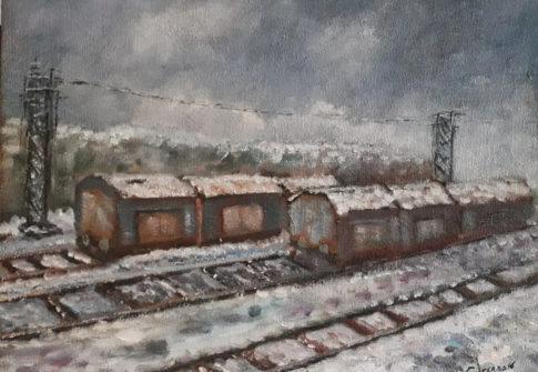 Nevicata al deposito ferroviario
